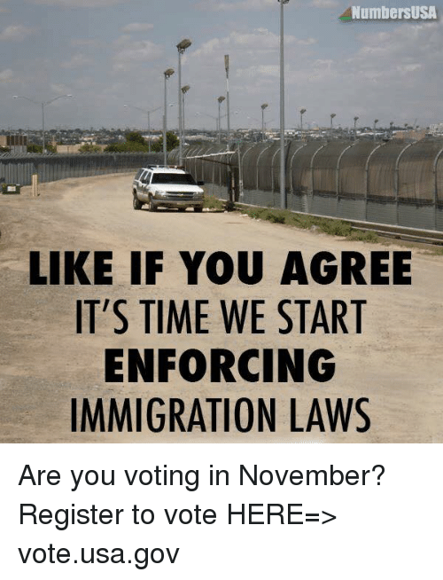 Memes, Immigration, and Time: NumbersUSA  LIKE IF YOU AGREE  IT'S TIME WE START  ENFORCING  IMMIGRATION LAWS Are you voting in November? Register to vote HERE=> vote.usa.gov