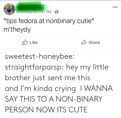 Crying, Cute, and Fedora: nursday at /41 PM  OUCH  *tips fedora at nonbinary cutie*  m'theydy  Like  Share sweetest-honeybee: straightforparsp: hey my little brother just sent me this and I'm kinda crying   I WANNA SAY THIS TO A NON-BINARY PERSON NOW ITS CUTE