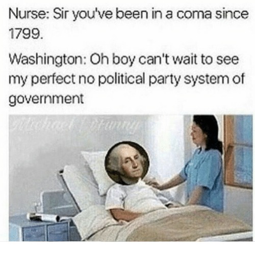 Party, Government, and Been: Nurse: Sir you've been in a coma since  1799.  Washington: Oh boy can't wait to see  my perfect no political party system of  government