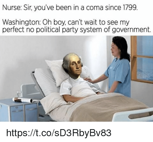 Party, Government, and Been: Nurse: Sir, you've been in a coma since 1799  Washington: Oh boy, can't wait to see my  perfect no political party system of government. https://t.co/sD3RbyBv83