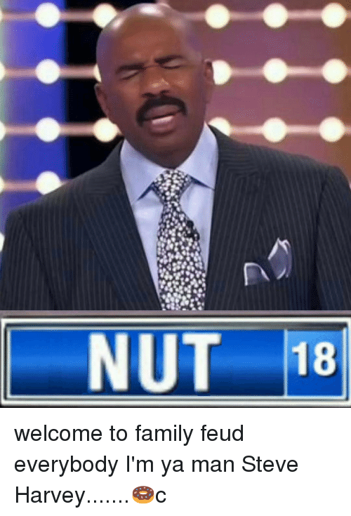 nut 18 welcome to family feud everybody im ya man 12551901 nut 18 welcome to family feud everybody i'm ya man steve harvey🍩c