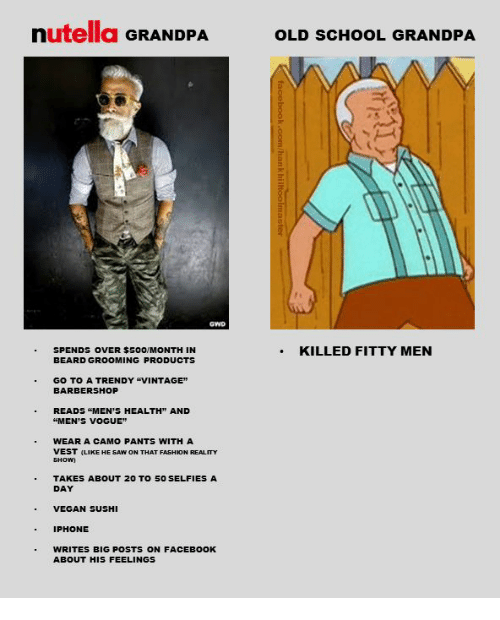 """Barbershop, Beard, and Facebook: nutella GRANDPA  OLD SCHOOL GRANDPA  SPENDS OVER $500/MONTH IN  BEARD GROOMING PRODUCTS  .KILLED FITTY MEN  GO TO A TRENDY """"VINTAGE""""  BARBERSHOP  READS """"MEN'S HEALTH"""" AND  """"MEN'S VOGUE  WEAR A CAMO PANTS WITH A  VEST (LIKE HE SAW ON THAT FASHION REALITY  TAKES ABOUT 20 TO 5O SELFIES A  DAY  VEGAN SUSHI  IPHONE  WRITES BIG POSTS ON FACEBOOK  ABOUT HIS FEELINGS"""