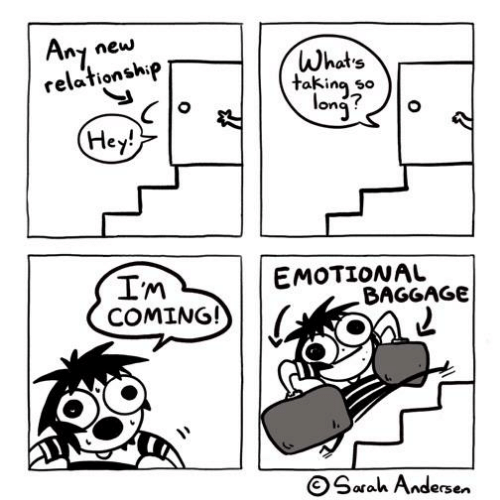 Memes, 🤖, and New: ny new  Whats  ta*inj^°  relationship  takina so  ona ?  ey  In  EMOTIONAL  BAGGAGe  COMING!  OSarah Andersen