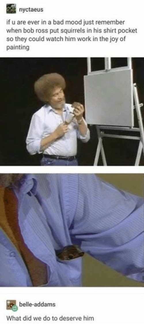 Bad, Mood, and Work: nyctaeus  if u are ever in a bad mood just remember  when bob ross put squirrels in his shirt pocket  so they could watch him work in the joy of  painting  belle-addams  What did we do to deserve him