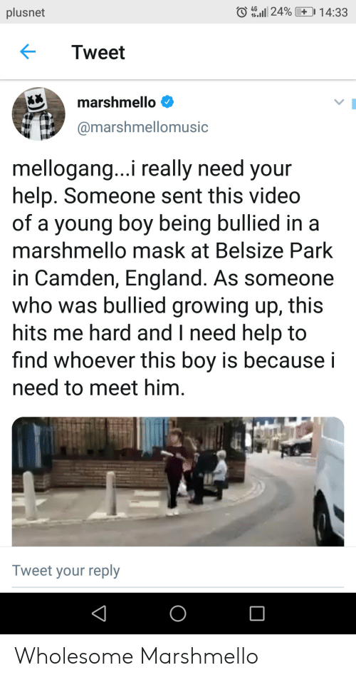 England, Growing Up, and Help: O 4G.Il 24%  plusnet  1 4:33  Tweet  marshmello  @marshmellomusic  mellogang..i really need your  help. Someone sent this video  of a young boy being bullied in a  marshmello mask at Belsize Park  in Camden, England. As someone  who was bullied growing up, this  hits me hard and I need help to  find whoever this boy is because i  need to meet him  Tweet your reply Wholesome Marshmello