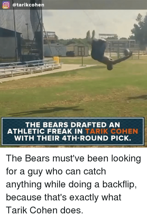 Memes, Bears, and Been: O atarikcohen  THE BEARS DRAFTED AN  ATHLETIC FREAK IN  TARIK COHEN  WITH THEIR 4TH-ROUND PICK. The Bears​ must've been looking for a guy who can catch anything while doing a backflip, because that's exactly what Tarik Cohen does.