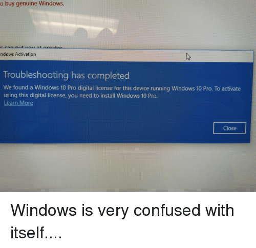 O Buy Genuine Windows Ndows Activation Troubleshooting Has Completed