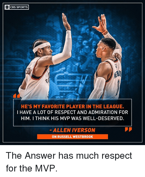 Allen Iverson, Memes, and Respect: O CBS SPORTS  HE'S MY FAVORITE PLAYER IN THE LEAGUE.  I HAVE A LOT OF RESPECT AND ADMIRATION FOR  HIM. I THINK HIS MVP WAS WELL-DESERVED  ALLEN IVERSON  ON RUSSELL WESTBROOK The Answer has much respect for the MVP.