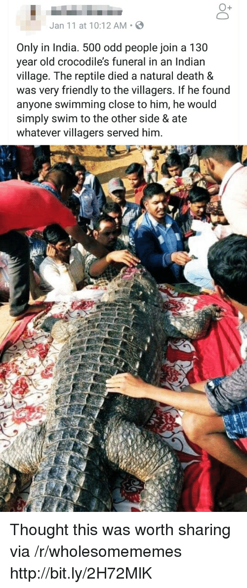 Death, Http, and India: O+  Jan 11 at 10:12 AM S  Only in India. 500 odd people join a 130  year old crocodile's funeral in an Indian  village. The reptile died a natural death &  was very friendly to the villagers. If he found  anyone swimming close to him, he would  simply swim to the other side & ate  whatever villagers served him. Thought this was worth sharing via /r/wholesomememes http://bit.ly/2H72MlK