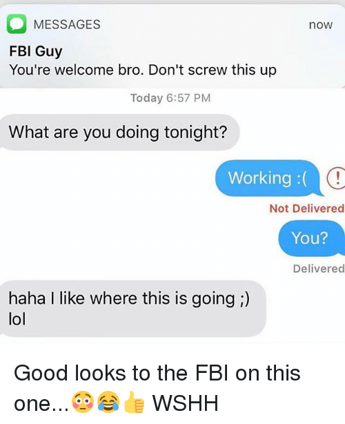 Fbi, Lol, and Memes: O MESSAGES  FBI Guy  You're welcome bro. Don't screw this up  now  Today 6:57 PM  What are you doing tonight?  Working:(  Not Delivered  You?  Delivered  haha I like where this is going ;)  lol Good looks to the FBI on this one...😳😂👍 WSHH