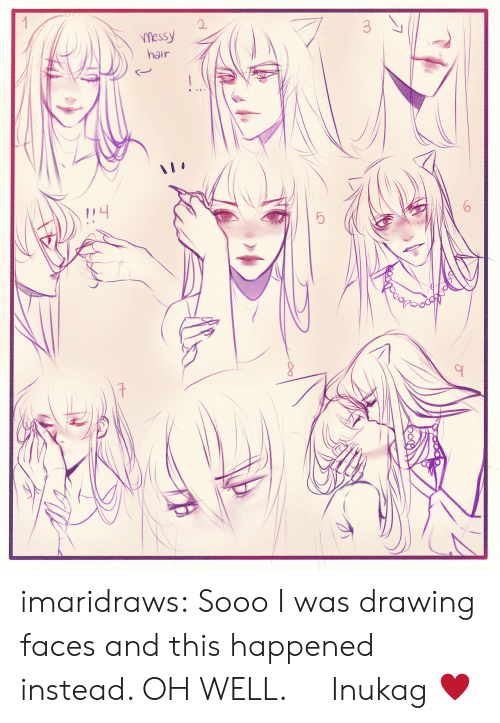 Target, Tumblr, and Blog: O.  messy  hair  ら imaridraws:  Sooo I was drawing faces and this happened instead. OH WELL. Inukag ♥
