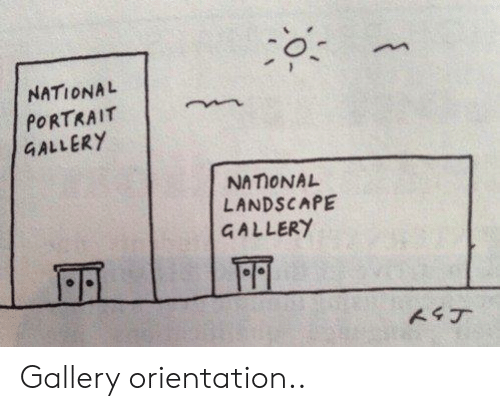 National Portrait Gallery, Portrait, and Orientation: o.  NATIONAL  PORTRAIT  GALLERY  NAIONAL  LANDSCAPE  GALLERY Gallery orientation..