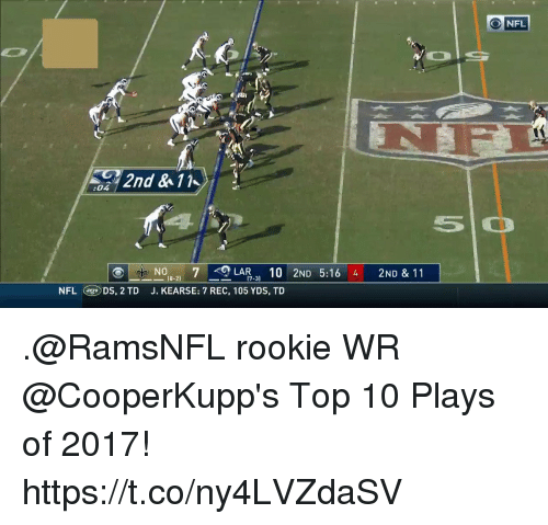 Memes, Nfl, and 🤖: O NFL  2nd & 11  :04  N08-2) 7-LAR-3) 10  J. KEARSE: 7 REC, 105 YDS, TD  2ND  5:16  4  2ND & 11  NFLDS, 2 TD .@RamsNFL rookie WR @CooperKupp's Top 10 Plays of 2017! https://t.co/ny4LVZdaSV