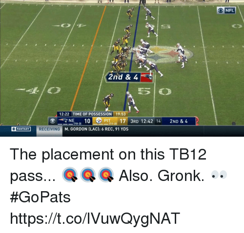 Andrew Bogut, Memes, and Nfl: O NFL  2nd & 4  12:22 TIME OF POSSESSION 19:53  ?NE10-3) 10 OPIT 1-2) 17' 3RD 12:42 14  2ND & 4  110-31  FANTASYRECEIVING M. GORDON ILAC): 6 REC, 91 YDS The placement on this TB12 pass... 🎯🎯🎯  Also. Gronk. 👀 #GoPats https://t.co/lVuwQygNAT