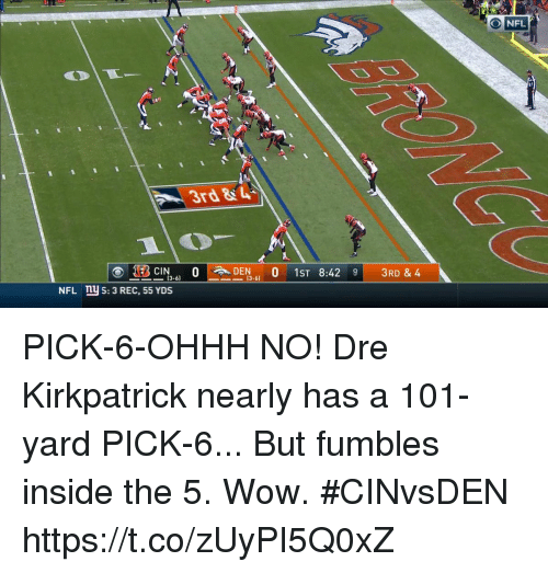 Memes, Nfl, and Wow: O NFL  3rd&  -(3-61  NFL  5: 3 REC, 55 YDS PICK-6-OHHH NO!  Dre Kirkpatrick nearly has a 101-yard PICK-6...  But fumbles inside the 5. Wow. #CINvsDEN https://t.co/zUyPI5Q0xZ