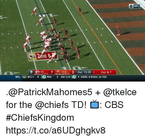 Memes, Nfl, and Cbs: O NFL  at &  CLE-  2ND 13:35 5 2ND & 7  (2.5.1)  NFLNYJ.0M  MIA 3 2ND 12:39F. GORE: 8 RUSH, 26 YDS .@PatrickMahomes5 + @tkelce for the @chiefs TD!  📺: CBS #ChiefsKingdom https://t.co/a6UDghgkv8