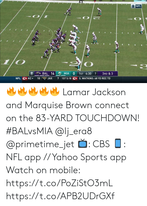 Memes, Nfl, and Sports: O NFL  BAL 14  MIA  1ST 4:30  3RD & 3  7  S. WATKINS: 68 YD REC TD  KC  NFL  10  7  1ST 5:18  JAX 🔥🔥🔥🔥🔥  Lamar Jackson and Marquise Brown connect on the 83-YARD TOUCHDOWN! #BALvsMIA @lj_era8 @primetime_jet  📺: CBS 📱: NFL app // Yahoo Sports app  Watch on mobile: https://t.co/PoZiStO3mL https://t.co/APB2UDrGXf