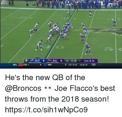 Memes, Nfl, and Best: O NFL  BUF O  BAL O 1ST 12:28 13 2ND & 26  0 1ST 13:10 1st & 10 14  NFL  ER  CIN  IND  ELLET He's the new QB of the @Broncos 👀  Joe Flacco's best throws from the 2018 season! https://t.co/sih1wNpCo9