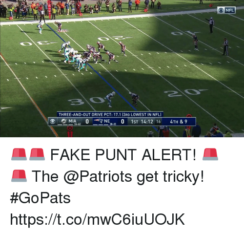 Fake, Memes, and Nfl: O NFL  THREE-AND-OUT DRIVE PCT: 17.1 (3RD LOWEST IN NFL)  (8-2) 🚨🚨 FAKE PUNT ALERT! 🚨🚨  The @Patriots get tricky! #GoPats https://t.co/mwC6iuUOJK