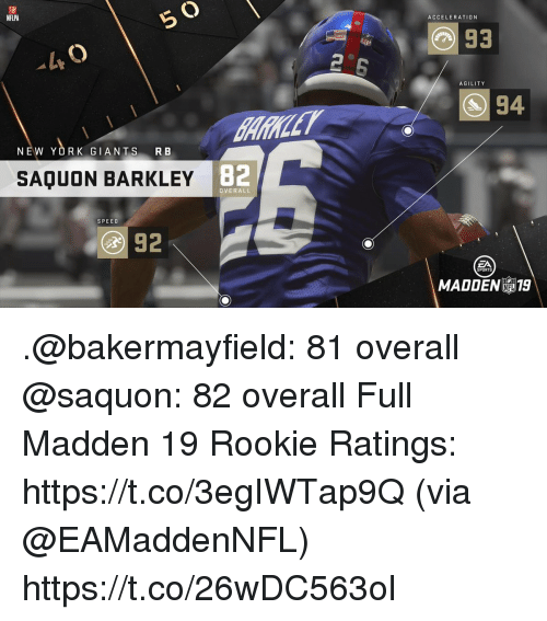 Memes, New York, and New York Giants: O)  NFLPA  ACCELERATION  93  AGILITY  94  NEW YORK GIANTS RB  SAQUON BARKLEY  B2  OVERALL  SPEED  SPORTS  MADDEN 19 .@bakermayfield: 81 overall @saquon: 82 overall  Full Madden 19 Rookie Ratings: https://t.co/3egIWTap9Q (via @EAMaddenNFL) https://t.co/26wDC563ol