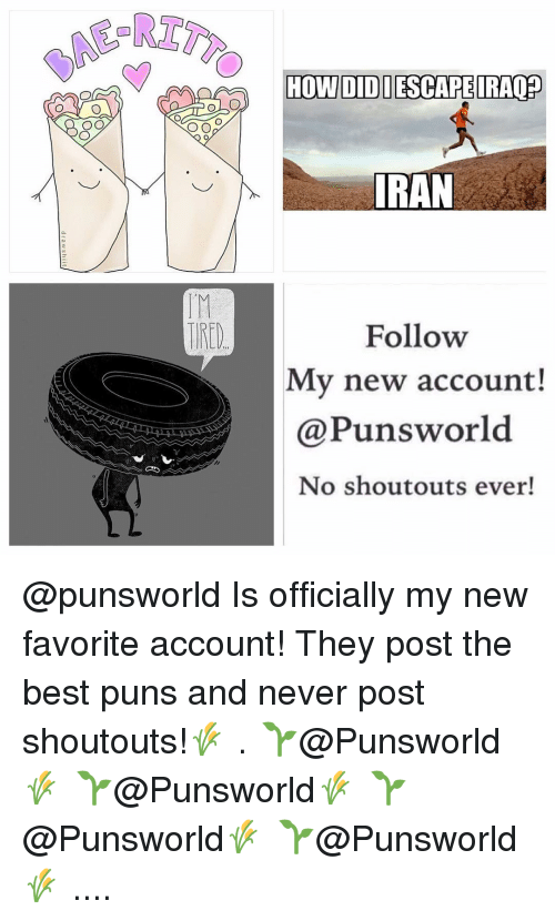 Memes, Puns, and Iran: O O  HOWI DIDI ESCAPE IRAQED  IRAN  Follow  My new account!  @Puns world  No shout outs ever! @punsworld Is officially my new favorite account! They post the best puns and never post shoutouts!🌾 . 🌱@Punsworld🌾 🌱@Punsworld🌾 🌱@Punsworld🌾 🌱@Punsworld🌾 ....