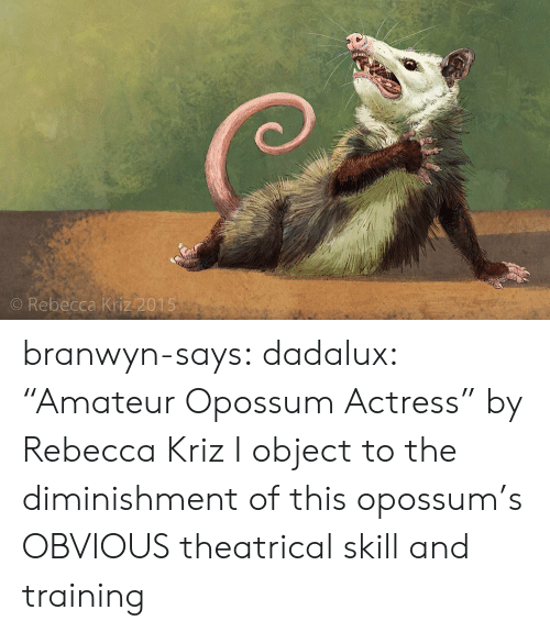 """Tumblr, Blog, and Com: O Rebecca Kriz 2015 branwyn-says:  dadalux: """"Amateur Opossum Actress"""" by Rebecca Kriz I object to the diminishment of this opossum's OBVIOUS theatrical skill and training"""