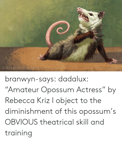 """Target, Tumblr, and Blog: O Rebecca Kriz 2015 branwyn-says: dadalux: """"Amateur Opossum Actress"""" by Rebecca Kriz I object to the diminishment of this opossum's OBVIOUS theatrical skill and training"""