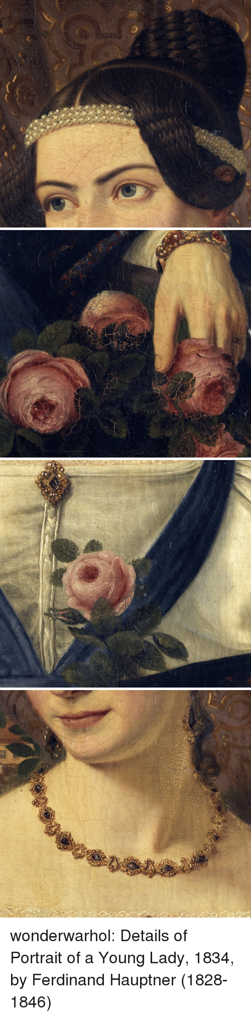 Tumblr, Blog, and Http: o so wonderwarhol: Details of Portrait of a Young Lady, 1834, by Ferdinand Hauptner (1828-1846)