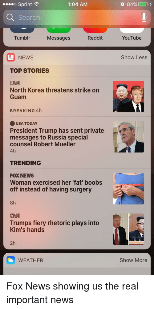 cnn.com, News, and North Korea: o Sprint  1:04 AM  o 84%)  Search  Tumblr  Messages  Reddit  YouTube  NEWS  Show Less  TOP STORIES  CN  North Korea threatens strike on  Guam  BREAKING 4h  USA TODAY  President Trump has sent private  messages to Russia special  counsel Robert Mueller  4h  TRENDING  FOX NEWS  Woman exercised her 'fat' boobs  off instead of having surgery  8h  CNN  Trumps fiery rhetoric plays into  Kim's hands  2h  WEATHER  Show More