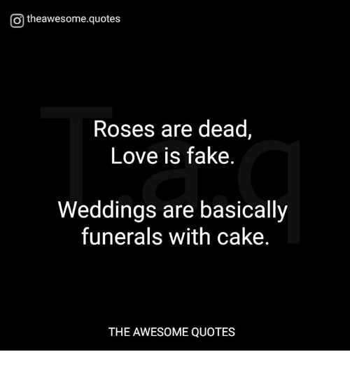 Love Is Fake Quotes Classy O Theawesomequotes Roses Are Dead Love Is Fake Weddings Are