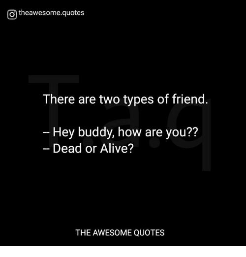 O Theawesomequotes There Are Two Types Of Friend Hey Buddy How Are