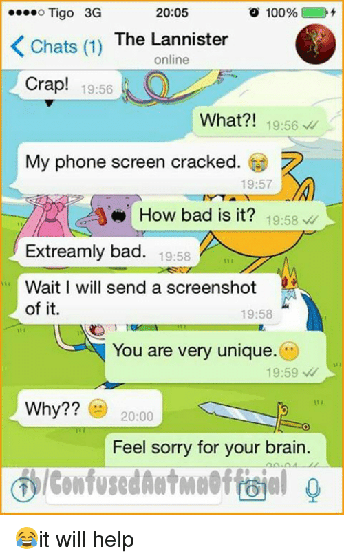 Brains, Memes, and Brain: ....o Tigo 3G  20:05  o 100%  Chats (1)  The Lannister  online  crap! 19:56  What?! 19:56  My phone screen cracked.  19:57  How bad is it?  19:58  Extreamly bad. 19:58  Wait I will send a screenshot  of it.  19:58  You are very unique.  19:59  Why??  20:00  Feel sorry for your brain. 😂it will help