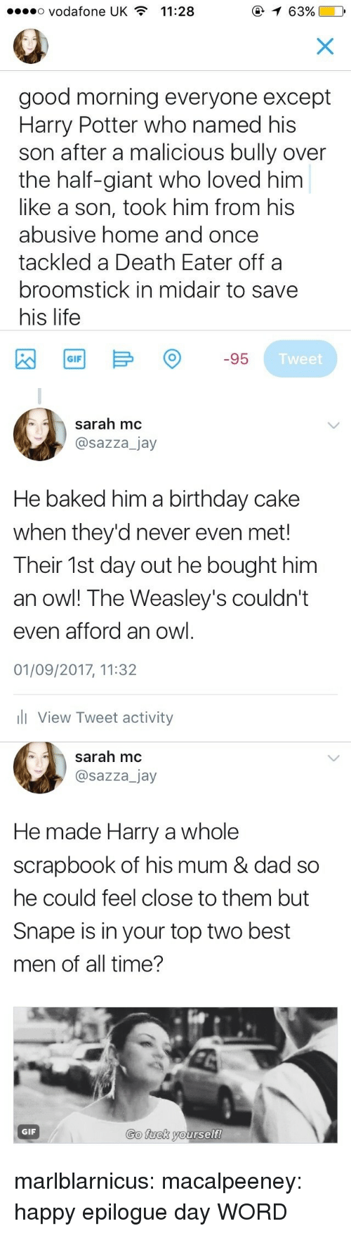 Baked, Birthday, and Broomstick: o Vodafone UK  11:28  0  good morning everyone except  Harry Potter who named his  son after a malicious bully over  the half-giant who loved him  like a son, took him from his  abusive home and once  tackled a Death Eater offa  broomstick in midair to save  his life  Tweet   sarah mc  @sazza_jay  He baked him a birthday cake  when they'd never even met!  Their 1st day out he bought him  an owl! The Weasley's couldn't  even afford an owl  01/09/2017, 11:32  l View Tweet activity   sarah mc  @sazza_jay  He made Harry a whole  scrapbook of his mum & dad so  he could feel close to them but  Snape is in your top two best  men of all time?  Go fuck yourself  GIF marlblarnicus: macalpeeney: happy epilogue day WORD