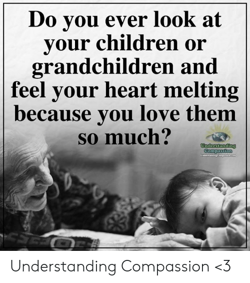 Children, Love, and Memes: o you ever look at  vour children or  grandchildren and  feel your heart melting  ecause you love them  so much? Understanding Compassion <3