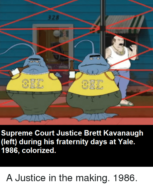 Supreme, Supreme Court, and Justice: O3L  Supreme Court Justice Brett Kavanaugh  uring his fraterni  1986, colorized.