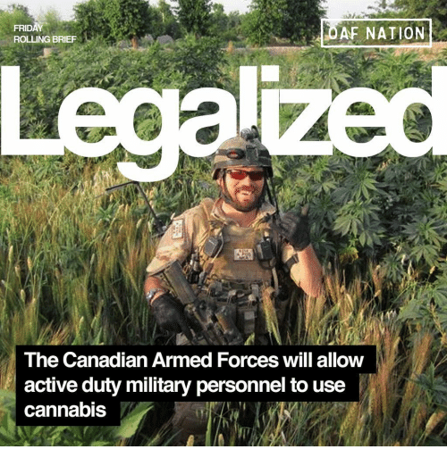Memes, Military, and Canadian: OAF NATION  ROLLING BRIEF  The Canadian Armed Forces will allow  active duty military personnel to use  cannabis