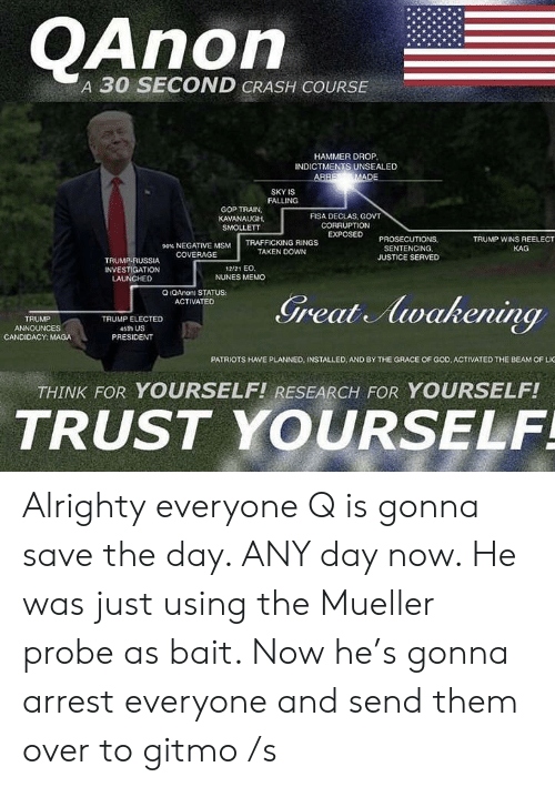 God, Patriotic, and Taken: OAnorn  A 30 SECOND CRASH COURSE  HAMMER DROP  INDICTMENTS UNSEALED  SKY IS  FALLING  GOP TRAIN  KAVANAUGH,  SMOLLETT  FISA DECLAS, GOVT  CORRUPTION  EXPOSED PROSECUTIONS  TRUMP WINS REELECT  90% NEGATIVE MSM  COVERAGE  TRAFFICKING RINGS  TAKEN DOWN  KAG  SENTENCING,  JUSTICE SERVED  TRUMP-RUSSIA  INVESTIGATION  LAUNCHED  12/21 EO  NUNES MEMO  O IQAnon) STATUS  ACTIVATED  TRUMP  ANNOUNCES  CANDIDACY: MAGA  TRUMP ELECTED  4sth US  PRESIDENT  PATRIOTS HAVE PLANNED, INSTALLED, AND BY THE GRACE OF GOD, ACTIVATED THE BEAM OF LIG  THINK FOR YOURSELF! RESEARCH FOR YOURSELF!  TRUST YOURSELF Alrighty everyone Q is gonna save the day. ANY day now. He was just using the Mueller probe as bait. Now he's gonna arrest everyone and send them over to gitmo /s