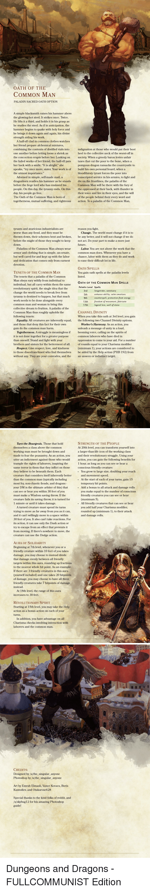 OATH OF THE COMMON MAN PALADIN SACRED OATH OPTION a Simple