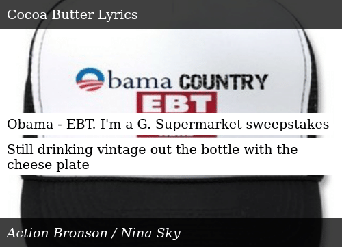 Obama - EBT I'm a G Supermarket Sweepstakes Still Drinking
