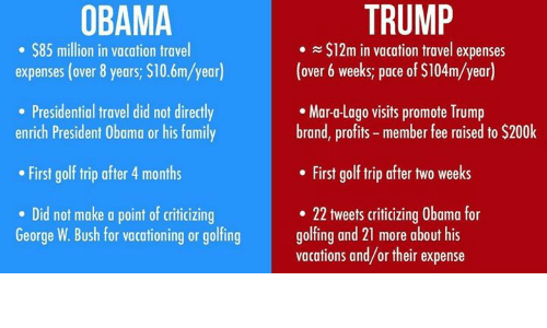 obama trump in vacation travel expenses over 6 weeks pace of