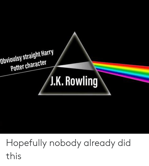 Obvioulsy Straight Harry Potter Character JK Rowling