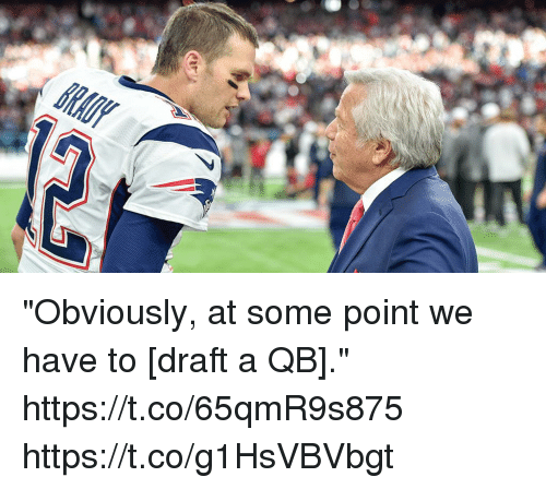 "Memes, 🤖, and Draft: ""Obviously, at some point we have to [draft a QB]."" https://t.co/65qmR9s875 https://t.co/g1HsVBVbgt"