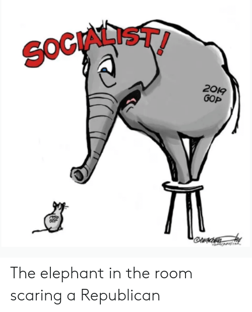 Politics, Elephant, and Elephant in the Room: OCIALIST  2019  GOP The elephant in the room scaring a Republican