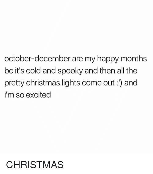 Christmas, Happy, and Girl Memes: october-december are my happy months  bc it's cold and spooky and then all the  pretty christmas lights come out:) and  i'm so excited CHRISTMAS