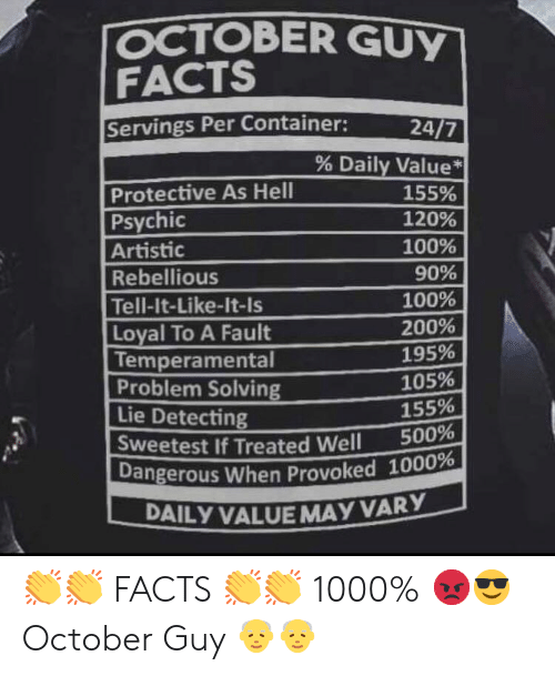 OCTOBER GUY FACTS Servings Per Container 247 % Daily Value