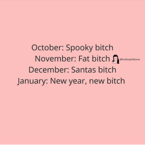 Bitch, New Year's, and Girl Memes: October: Spooky bitch  November: Fat bitch o  December: Santas bitchh  @fuckboysfailures  January: New year, new bitch
