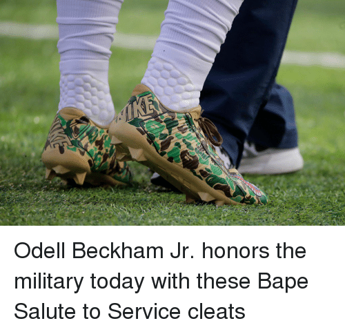 sports shoes d6f6e eb92f Odell Beckham Jr Honors the Military Today With These Bape ...