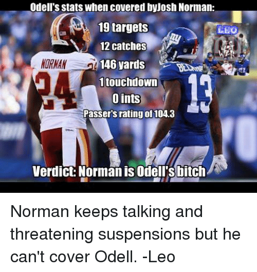 Memes, 🤖, and Eos: Odell's stats when covered byJosh Norman  19 targets  12 catches  146 yards  EO  MORMAN 1  ORNAN  1touchdoWn  Oints  Passer's rating of 104.3  Verdict:Norman is Odell'sbitch Norman keeps talking and threatening suspensions but he can't cover Odell. -Leo