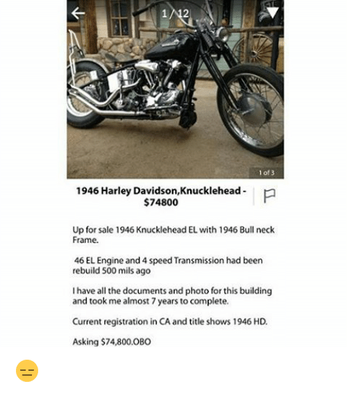 Of 3 1946 Harley $74800 Knucklehead P Davidson Up for Sale 1946 ...