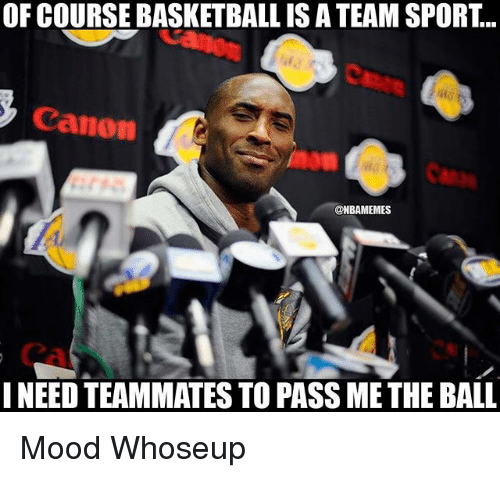 Basketball, Mood, and Nba: OF COURSE BASKETBALL IS A TEAM SPORT...  Canon  @NBAMEMES  NEED TEAMMATES TO PASS ME THE BALL Mood Whoseup